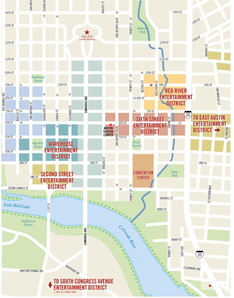 Austin Downtown Map Downtown Austin Map   Austin Condo Network